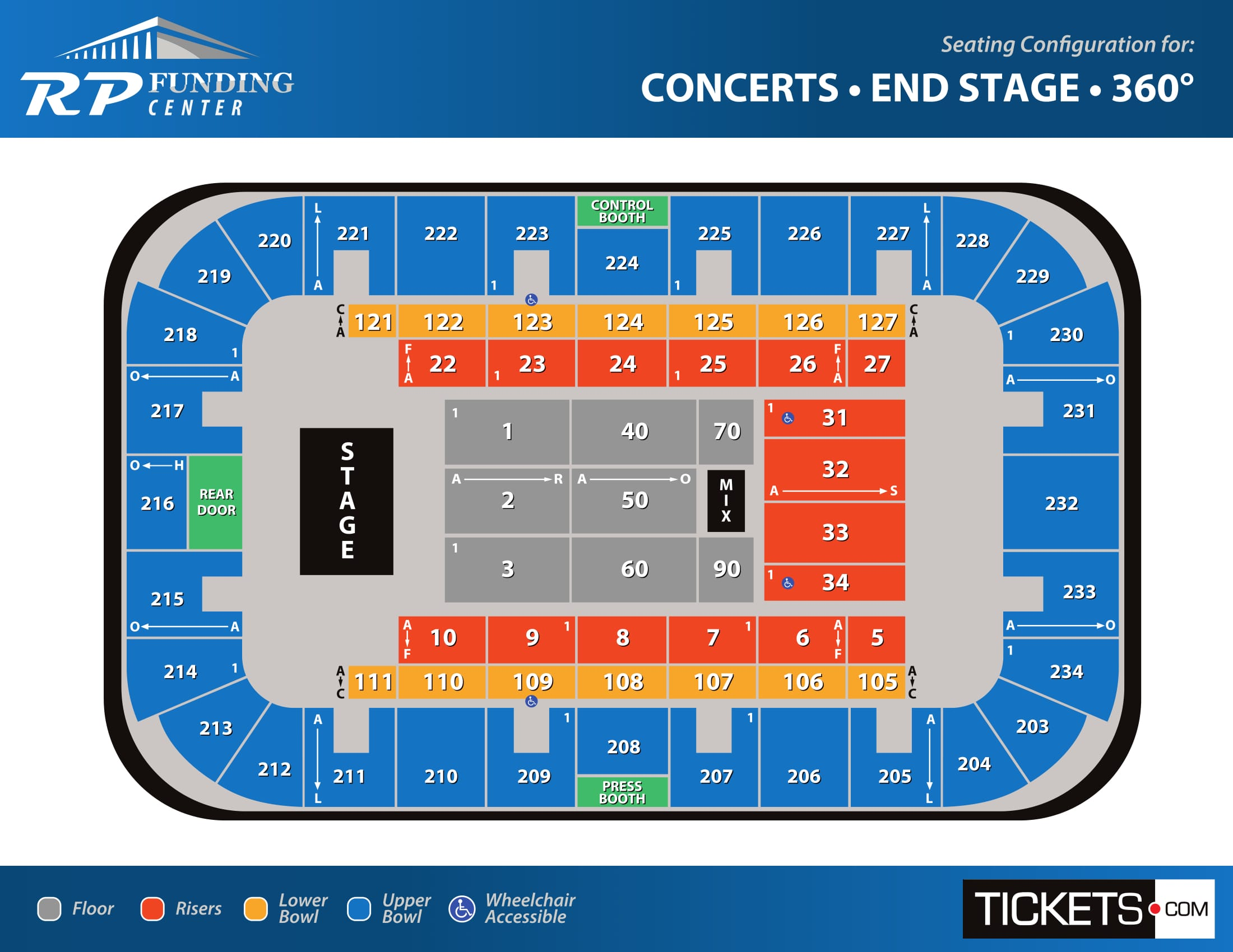 Concerts - End Stage seating map