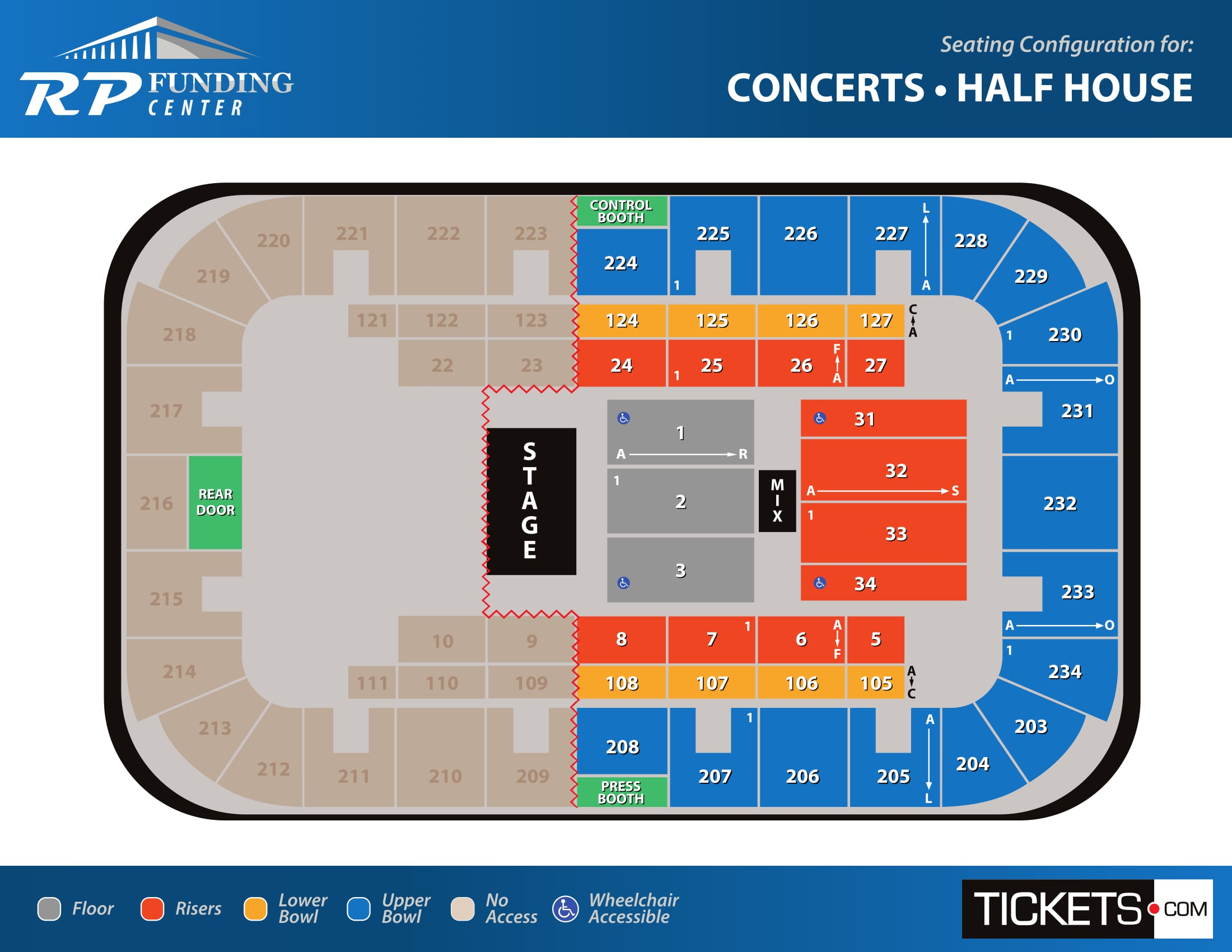 Concerts - Half House seating map