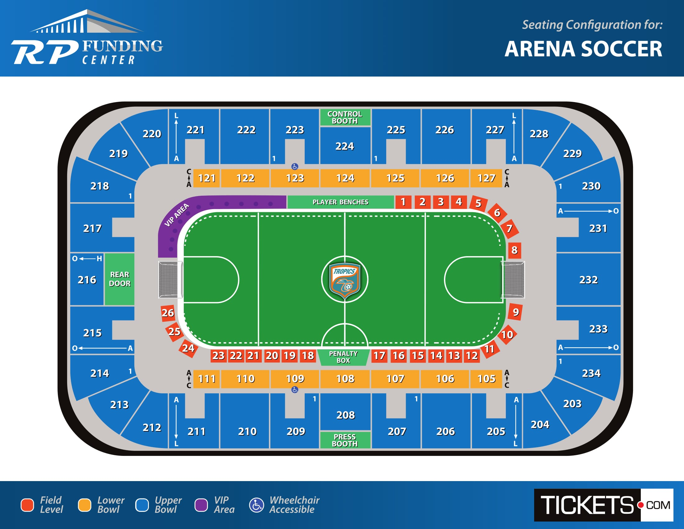 Arena soccer seating map