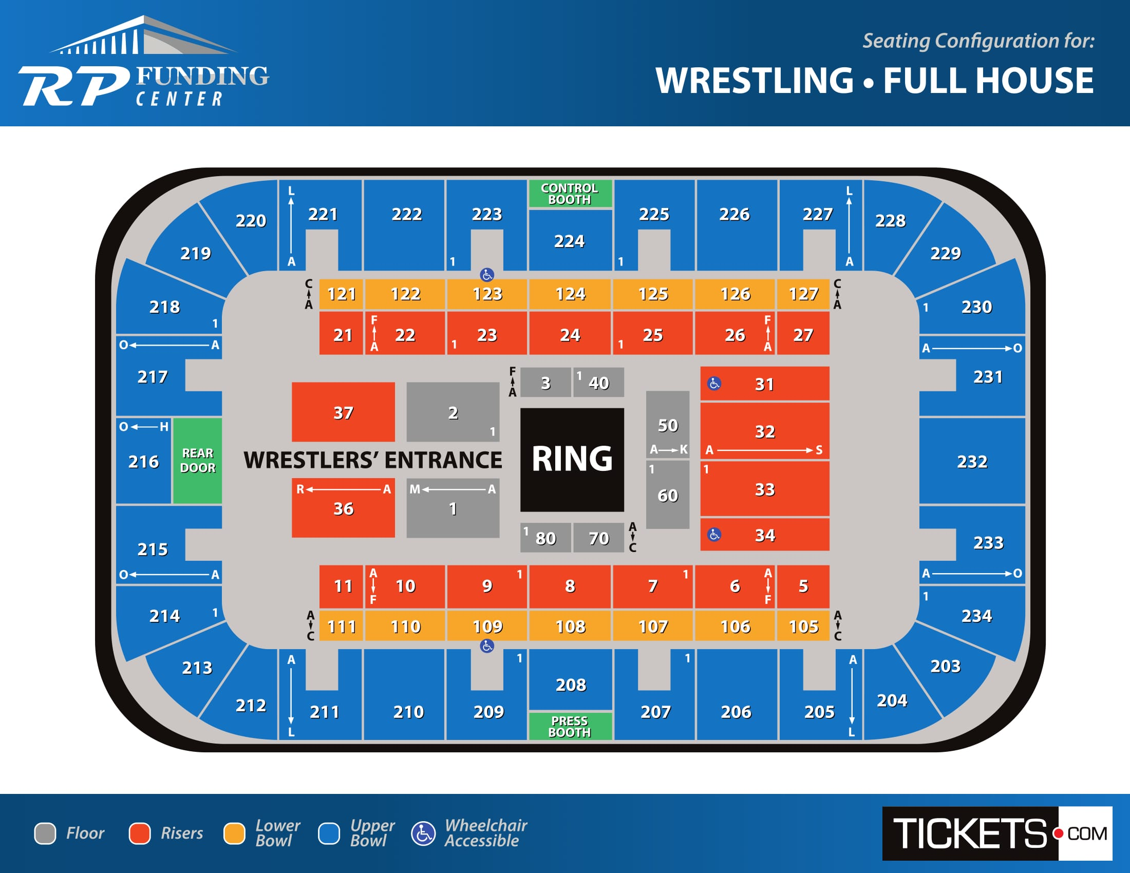 Wrestling - Full House seating map