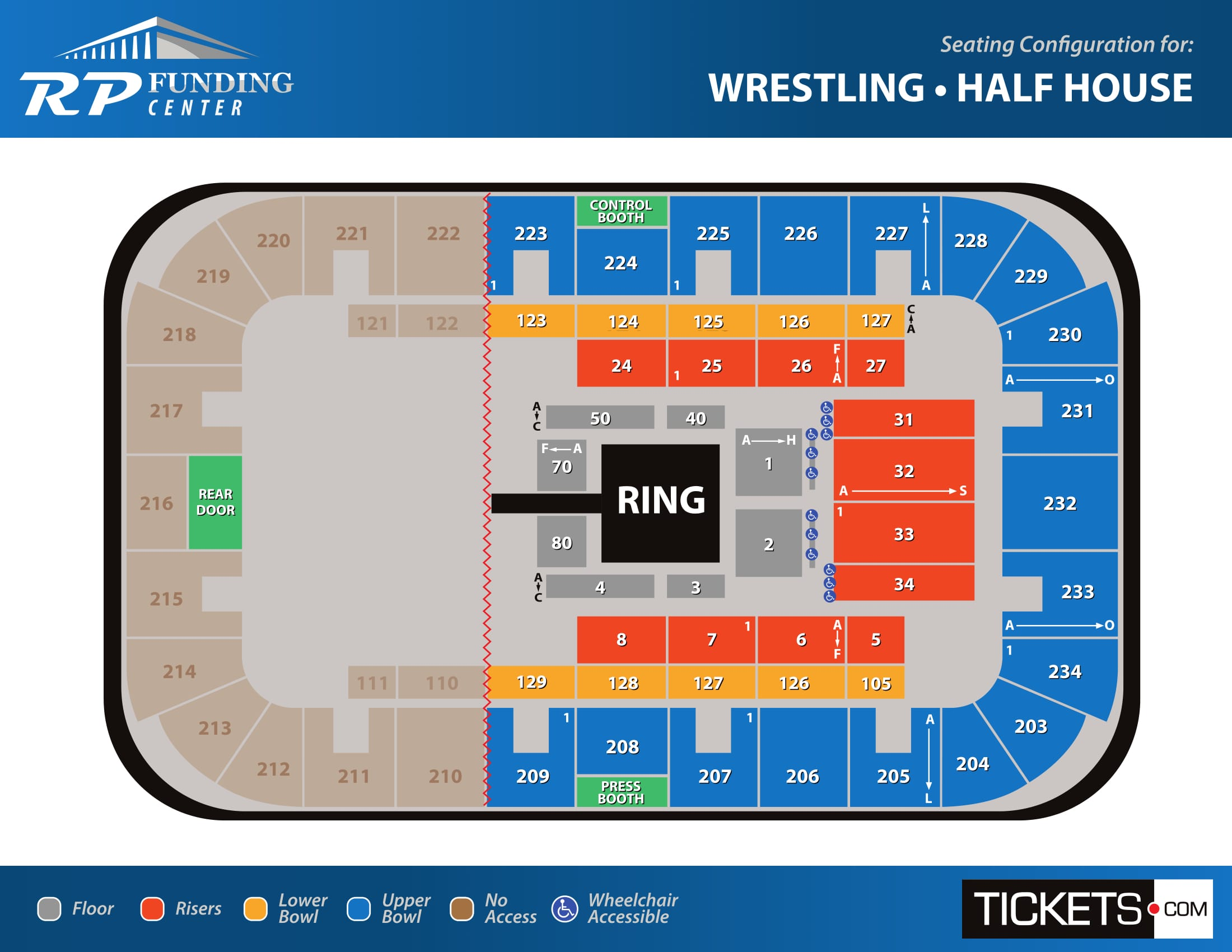 Wrestling - Half House seating map